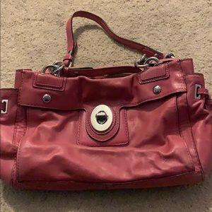 Pink leather coach shoulder bag